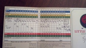 Scorecard from my round.
