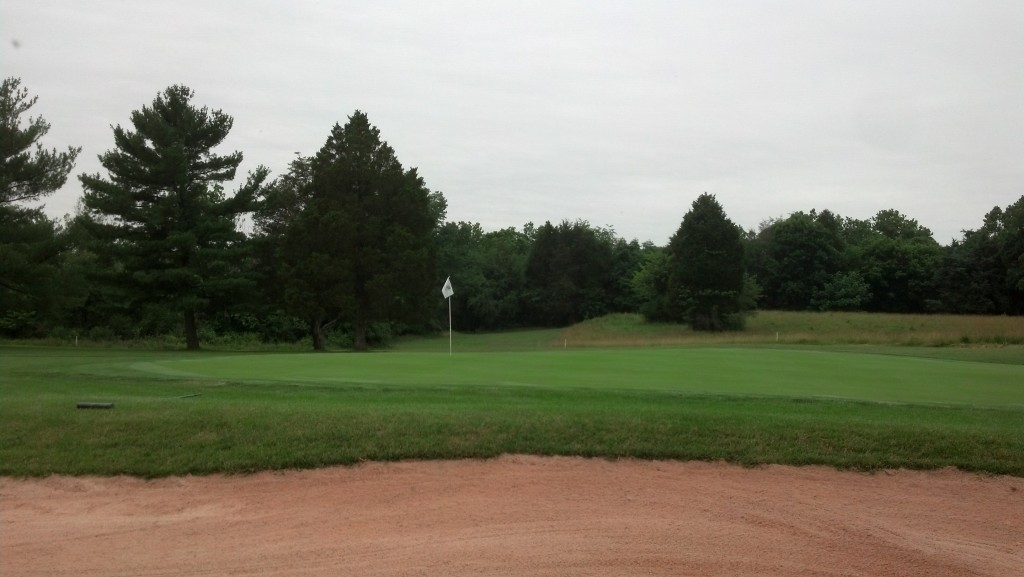 Poolesville 18th hole.  Hopefully my bunker raking skills were satisfactory.