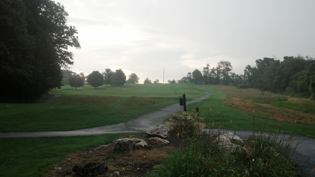 Third hole at Rattlewood.  Really pouring here.  And uphill.  And maybe a bear and a shark.