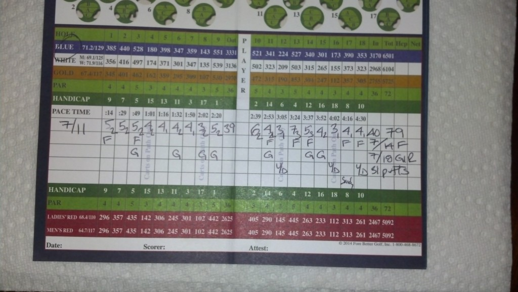 Scorecard from my round on July 11th.  Feels good to break 80.