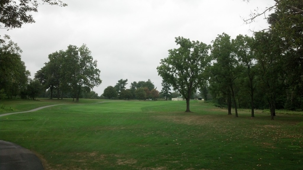 18th hole at Northwest Park. Pro tip- hit it left of that giant tree on the right.  Seriously.