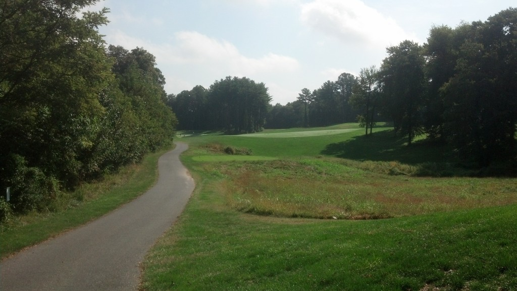 16 hole.  If you miss the fairway to the right...take up tennis.