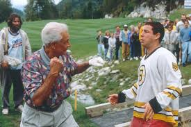 Sweatpants and a hockey sweater, and getting beat up by and old man.  Hilarious!