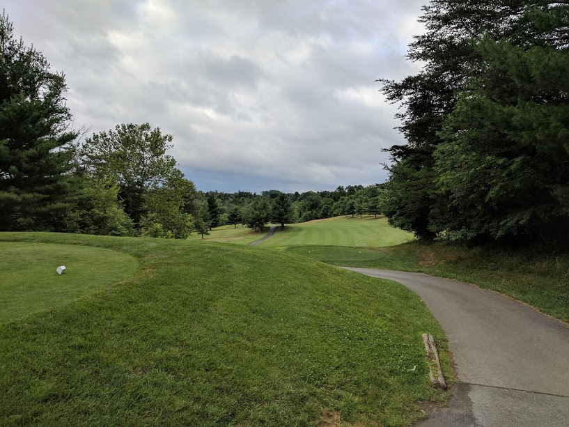 6th hole at Diamond Ridge.  A good time to not go left in front of the trees.