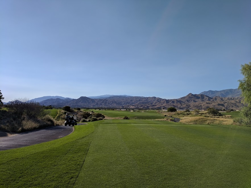 11th hole at Cimarron Golf Resort. Straight and long is good.