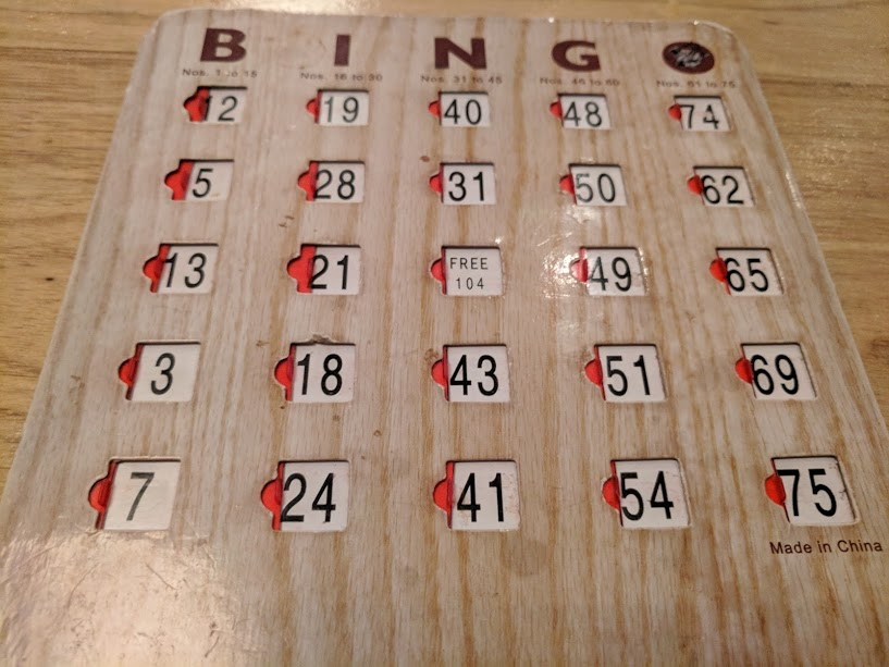 Playing Fabulous Bingo at the Ace Hotel.  I did not win.  I hang head and feel shame.